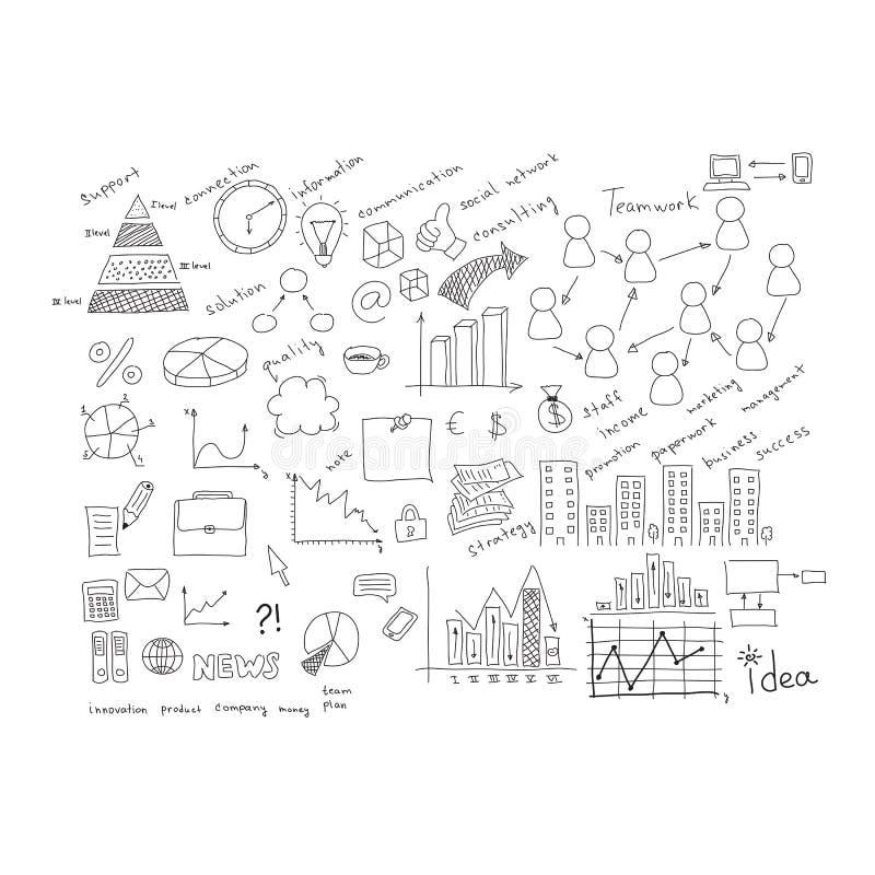 Επιχειρησιακά σκίτσα: κτήρια, λέξεις και περισσότεροι ελεύθερη απεικόνιση δικαιώματος