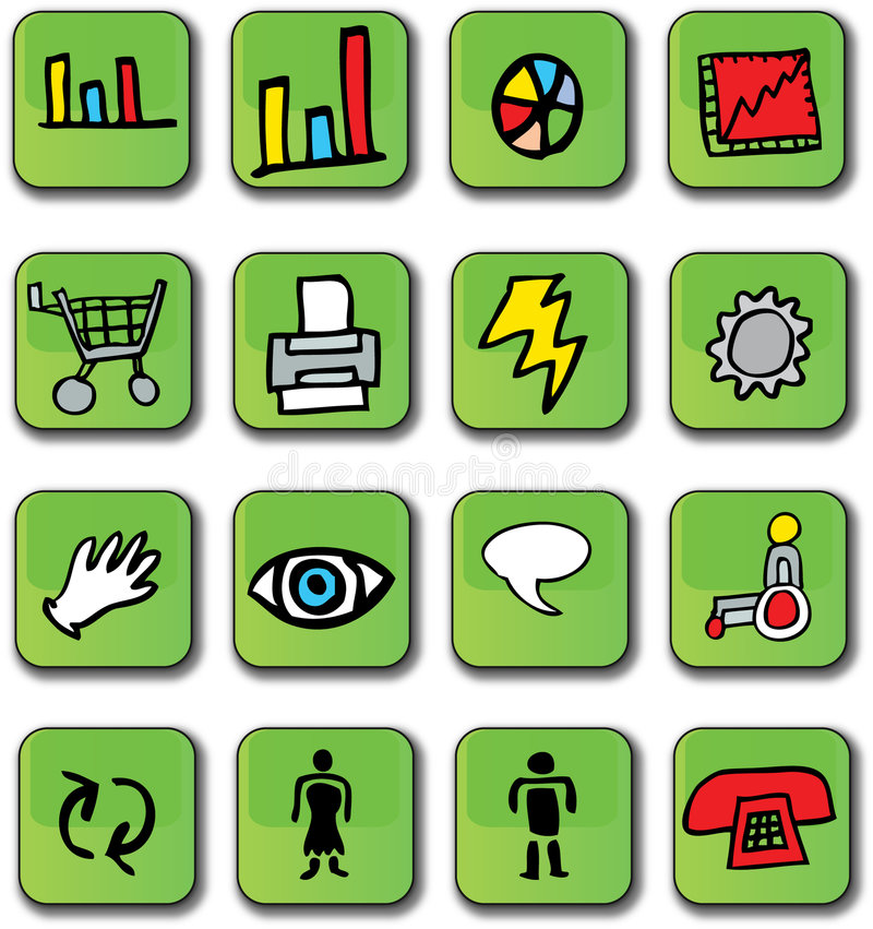 επιχειρησιακά στιλπνά πράσινα εικονίδια απεικόνιση αποθεμάτων