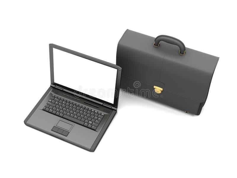 Επιχειρησιακά σύμβολα - χαρτοφύλακας και lap-top δέρματος διανυσματική απεικόνιση