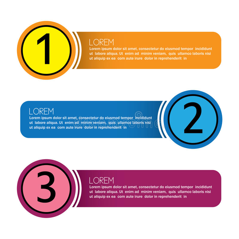 Επιχειρησιακά infographic αριθμημένα εμβλήματα - διανυσματικό γραφικό collectio ελεύθερη απεικόνιση δικαιώματος