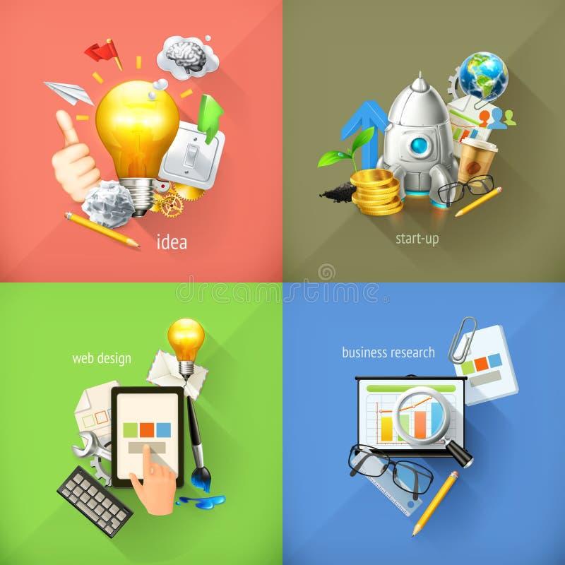 Επιχειρησιακές έννοιες, διανυσματικά εικονίδια διανυσματική απεικόνιση