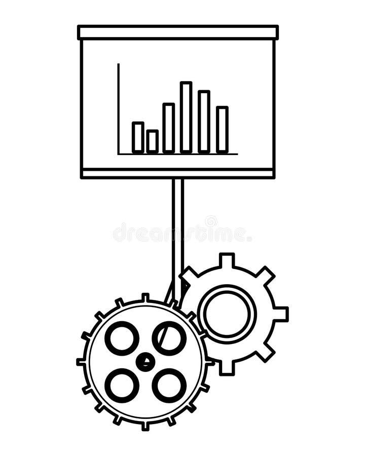 Επιχειρησιακές γραφικές παραστάσεις στο whiteboard με τα εργαλεία γραπτά απεικόνιση αποθεμάτων