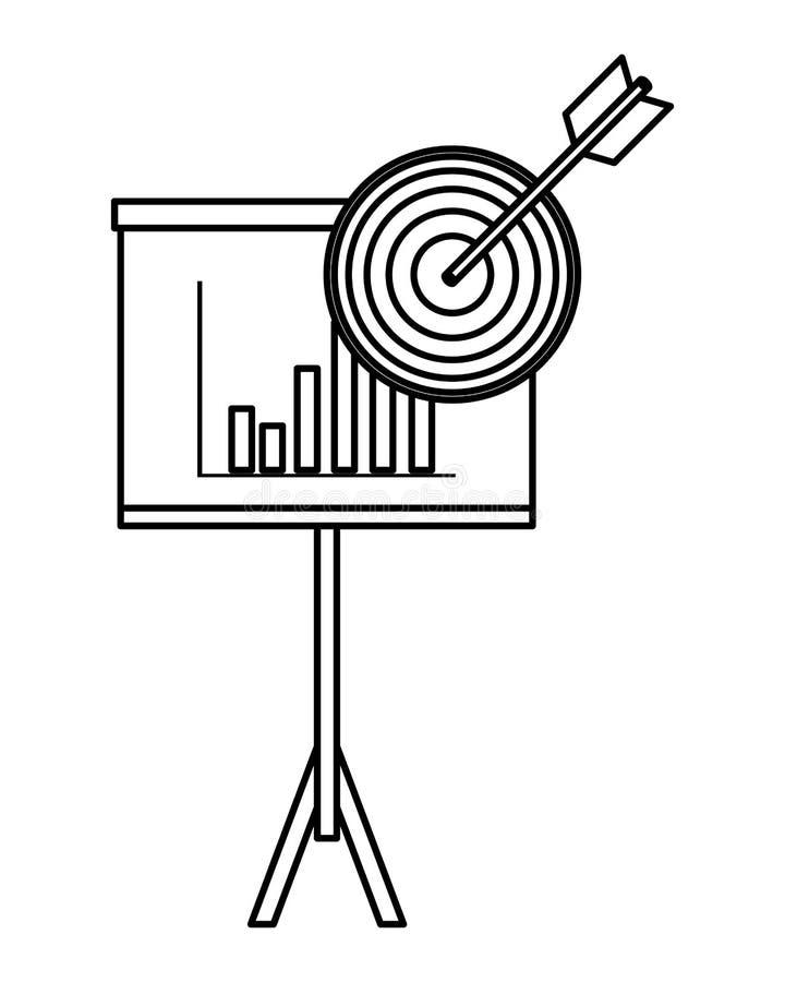 Επιχειρησιακές γραφικές παραστάσεις στο whiteboard με το στόχο γραπτό διανυσματική απεικόνιση