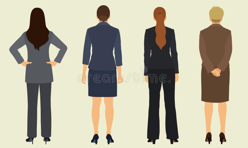 Επιχειρησιακές γυναίκες από πίσω διανυσματική απεικόνιση