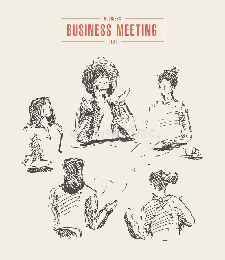 Επιχειρησιακές γυναίκες που απασχολούνται στο νέο διάνυσμα συνεδρίασης του προγράμματος διανυσματική απεικόνιση
