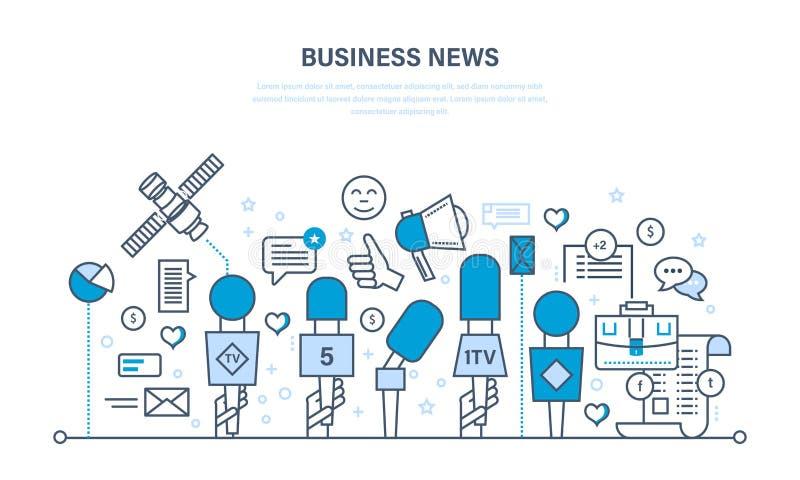 Επιχειρησιακές ειδήσεις, σύγχρονη τεχνολογία, σχόλια, αναθεωρήσεις, εργασία με τα στοιχεία, ανάλυση διανυσματική απεικόνιση