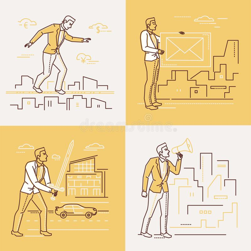 Επιχειρησιακές καταστάσεις - σύνολο απεικονίσεων ύφους σχεδίου γραμμών ελεύθερη απεικόνιση δικαιώματος