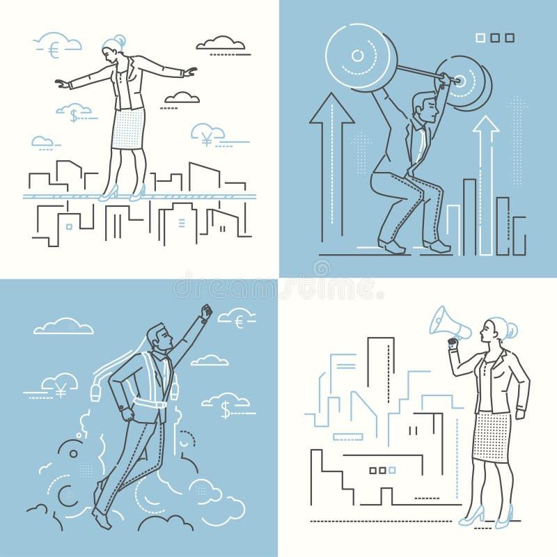 Επιχειρησιακές καταστάσεις - σύνολο απεικονίσεων ύφους σχεδίου γραμμών διανυσματική απεικόνιση