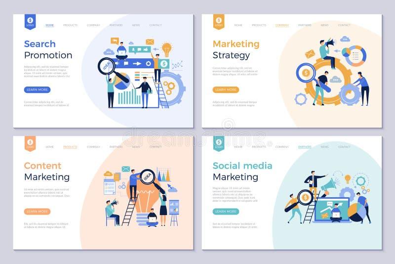 Επιχειρησιακές προσγειωμένος σελίδες Εμπορικές σύγχρονες διανυσματικές εικόνες προώθησης ανθρώπων προτύπων σχεδιαγράμματος σχεδίο ελεύθερη απεικόνιση δικαιώματος