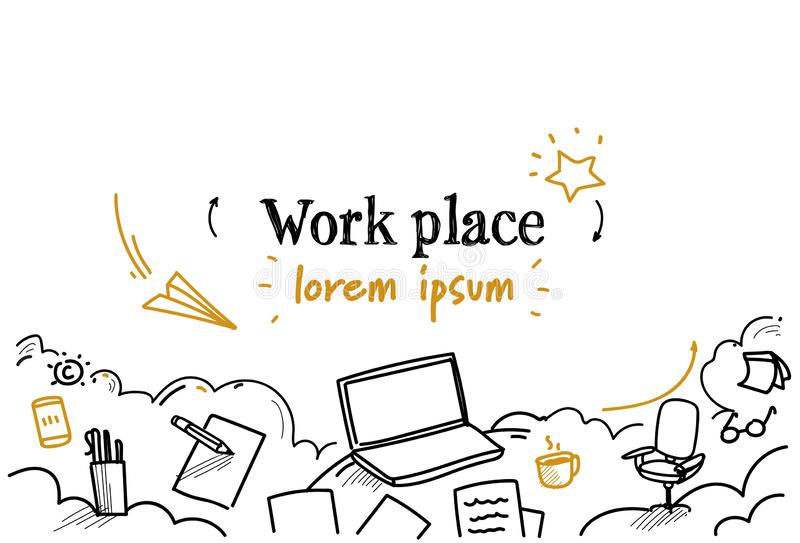 Επιχειρησιακής εργασίας υπολογιστών γραφείου lap-top εργασιακών χώρων γραφείων έννοιας διάστημα αντιγράφων σκίτσων doodle οριζόντ απεικόνιση αποθεμάτων