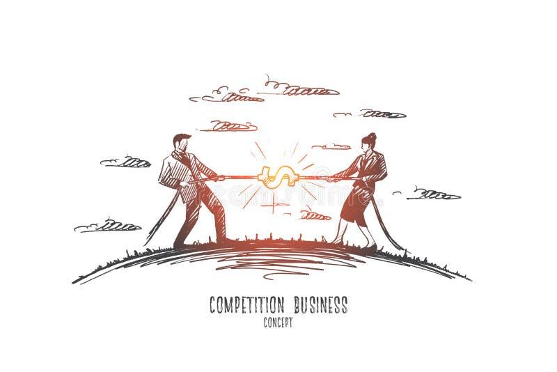 Επιχειρησιακή έννοια ανταγωνισμού Συρμένο χέρι απομονωμένο διάνυσμα απεικόνιση αποθεμάτων