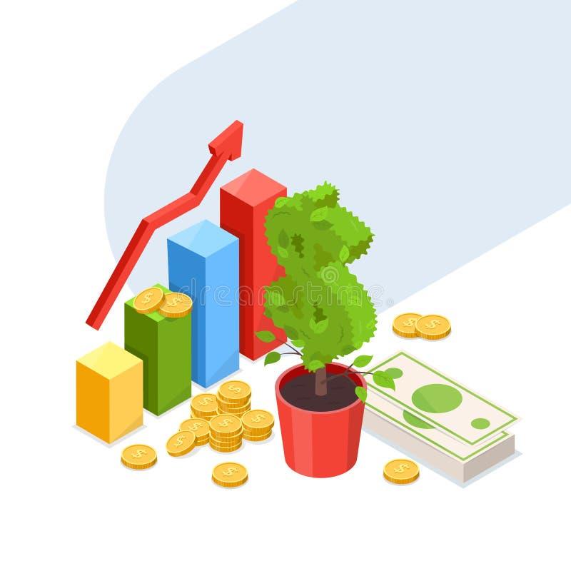 Επιχειρησιακή έννοια αύξησης επένδυσης, ανάπτυξης και χρηματοδότησης Διανυσματική isometric απεικόνιση του δέντρου δολαρίων, διάγ διανυσματική απεικόνιση