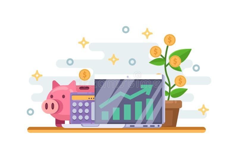 Επιχειρησιακή έννοια αύξησης επένδυσης και χρηματοδότησης Τράπεζα Piggy, δέντρο χρημάτων και οικονομική γραφική παράσταση επίσης  ελεύθερη απεικόνιση δικαιώματος