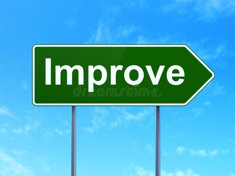 Επιχειρησιακή έννοια: Βελτιωθείτε στο υπόβαθρο οδικών σημαδιών απεικόνιση αποθεμάτων