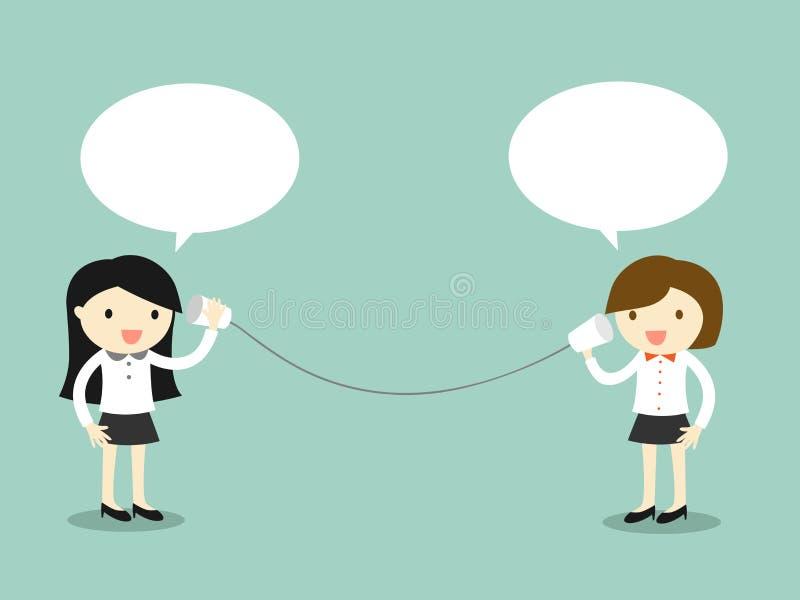 Επιχειρησιακή έννοια, γυναίκα δύο επιχειρήσεων που μιλά μέσω του τηλεφώνου φλυτζανιών επίσης corel σύρετε το διάνυσμα απεικόνισης απεικόνιση αποθεμάτων