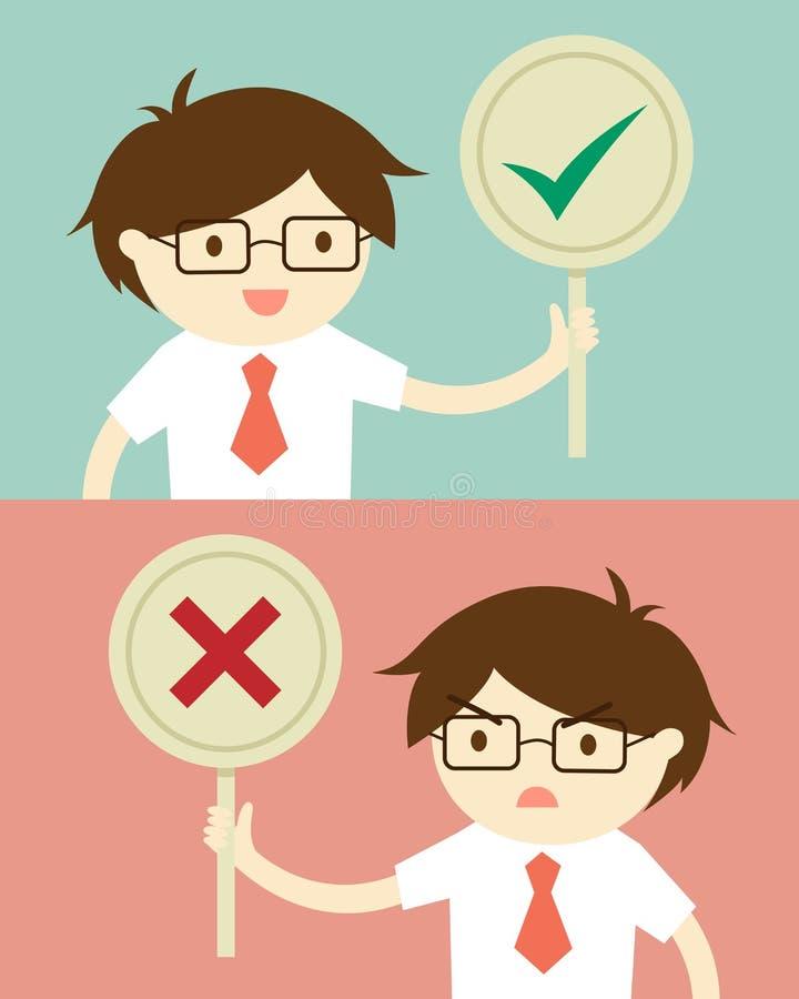 Επιχειρησιακή έννοια, επιχειρηματίας που κρατά το αληθινό και ψεύτικο σημάδι Διανυσματική απεικόνιση και επίπεδο σχέδιο διανυσματική απεικόνιση
