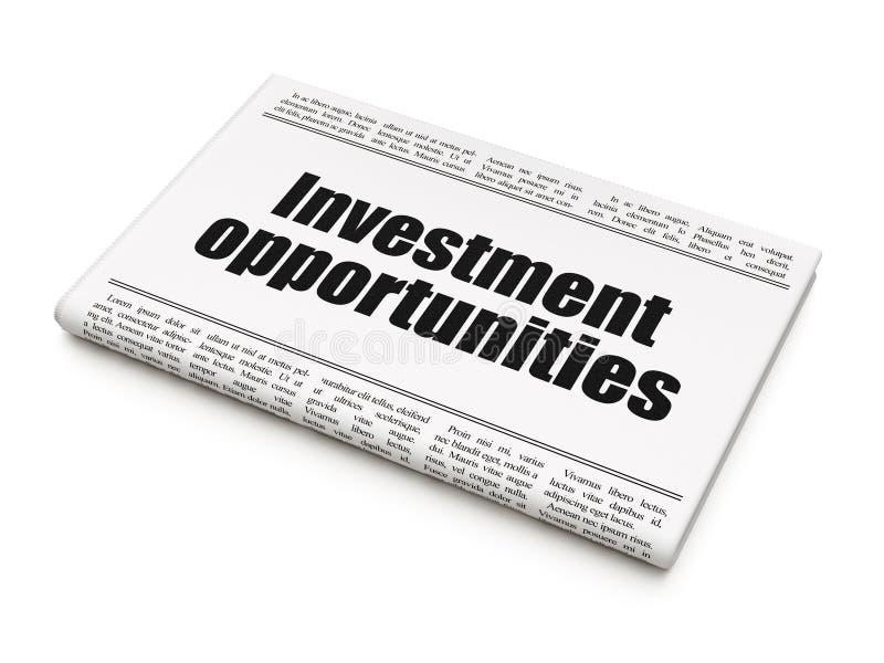 Επιχειρησιακή έννοια: ευκαιρίες επένδυσης τίτλων εφημερίδων στο άσπρο υπόβαθρο στοκ εικόνα