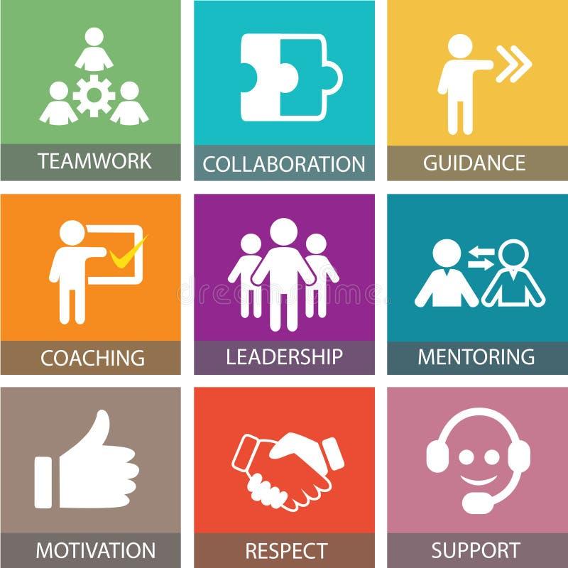 Επιχειρησιακή έννοια ηγεσίας Τυπογραφία εικονιδίων ανθρώπων ηγετών διανυσματική απεικόνιση