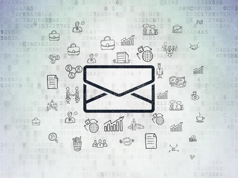 Επιχειρησιακή έννοια: Ηλεκτρονικό ταχυδρομείο στο υπόβαθρο εγγράφου ψηφιακών στοιχείων στοκ εικόνες με δικαίωμα ελεύθερης χρήσης