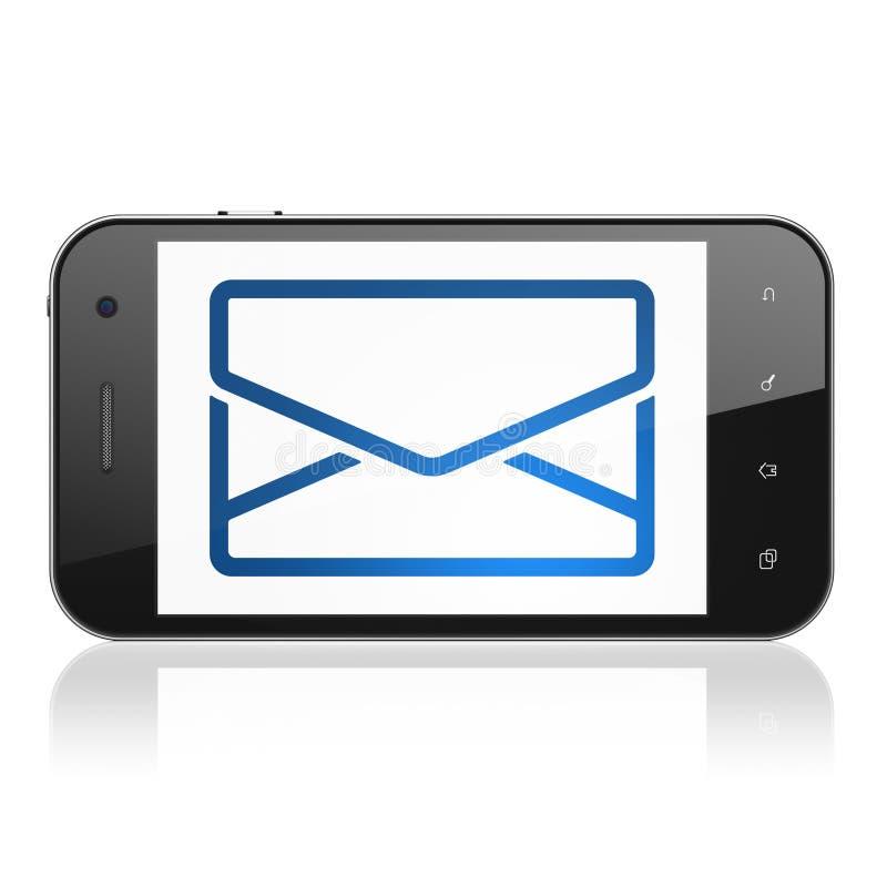 Επιχειρησιακή έννοια: Ηλεκτρονικό ταχυδρομείο στο smartphone απεικόνιση αποθεμάτων