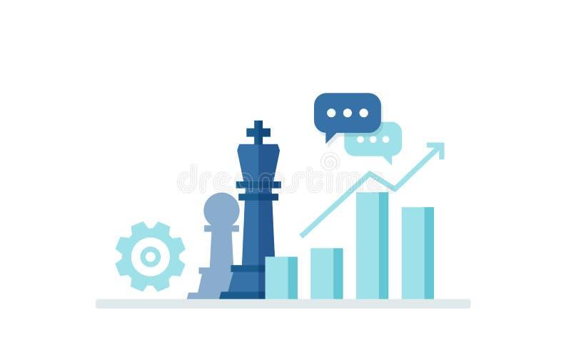 Επιχειρησιακή έννοια με τα εικονίδια των κομματιών σκακιού, του προγράμματος, του κέρδους και του σκοπού Έμβλημα στο επίπεδο ύφος απεικόνιση αποθεμάτων