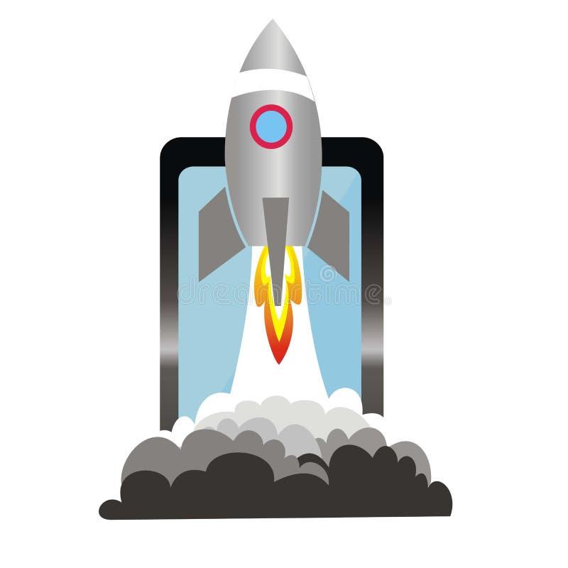 Επιχειρησιακή έννοια ξεκινήματος με τον πύραυλο lauch στο κινητό τηλέφωνο απεικόνιση αποθεμάτων