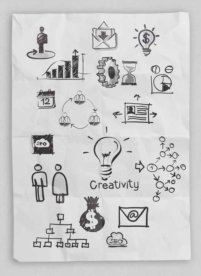 Επιχειρησιακή έννοια σε τσαλακωμένο χαρτί και την κολλώδη σημείωση στοκ εικόνες