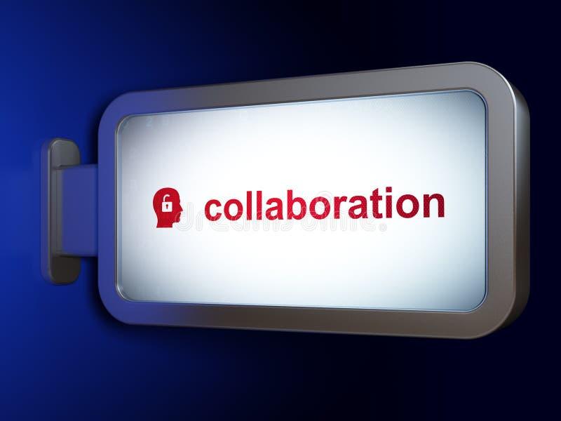 Επιχειρησιακή έννοια: Συνεργασία και κεφάλι με το λουκέτο στο υπόβαθρο πινάκων διαφημίσεων διανυσματική απεικόνιση