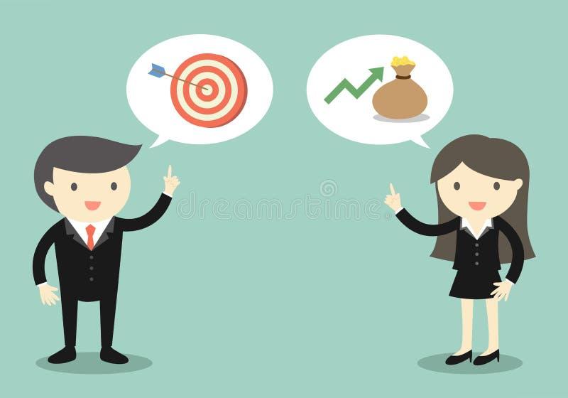 Επιχειρησιακή έννοια, δύο προϊστάμενοι που μιλά για το στόχο και το εισόδημα της επιχείρησης ελεύθερη απεικόνιση δικαιώματος