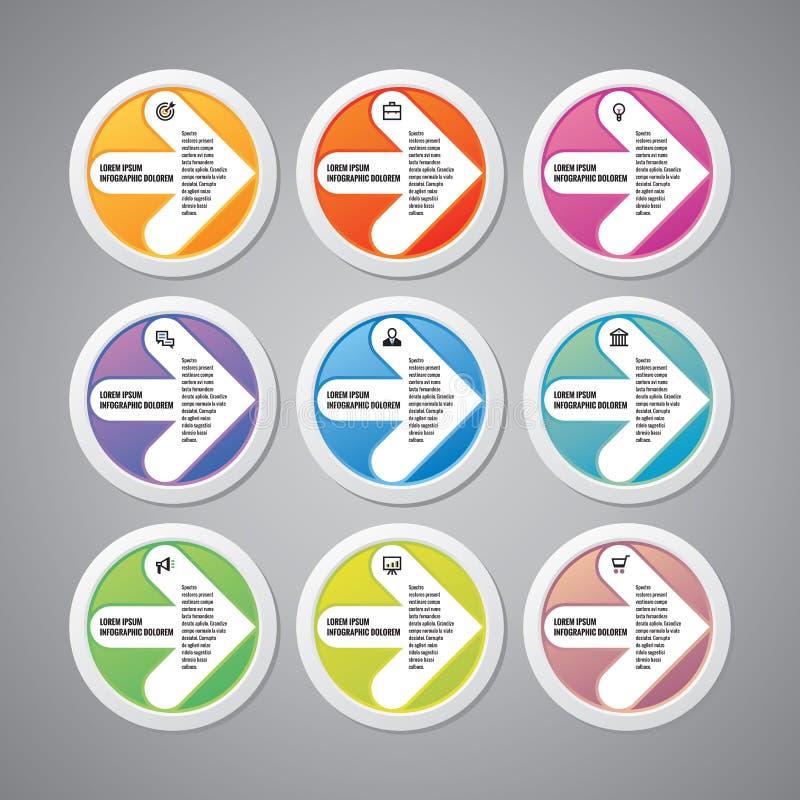 Επιχειρησιακή έννοια Infographic - διανυσματικό σχεδιάγραμμα με τα εικονίδια Βέλη στους κύκλους Πρότυπο Infographic Στοιχεία σχεδ απεικόνιση αποθεμάτων