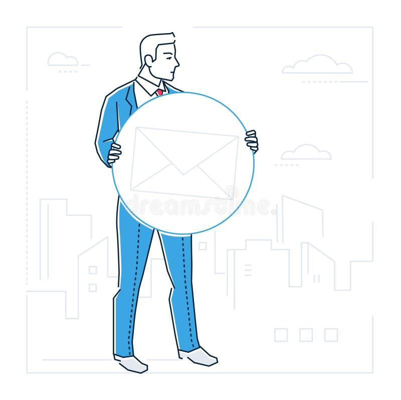 Επιχειρησιακή αλληλογραφία - απομονωμένη ύφος απεικόνιση σχεδίου γραμμών διανυσματική απεικόνιση