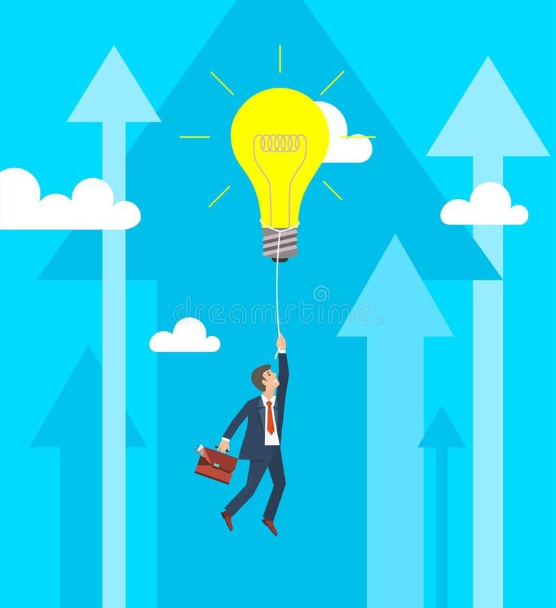 Επιχειρησιακή αύξηση και έννοια καινοτομίας Επιχειρηματίας που πετά στη μεγάλη λάμπα φωτός επίσης corel σύρετε το διάνυσμα απεικό διανυσματική απεικόνιση