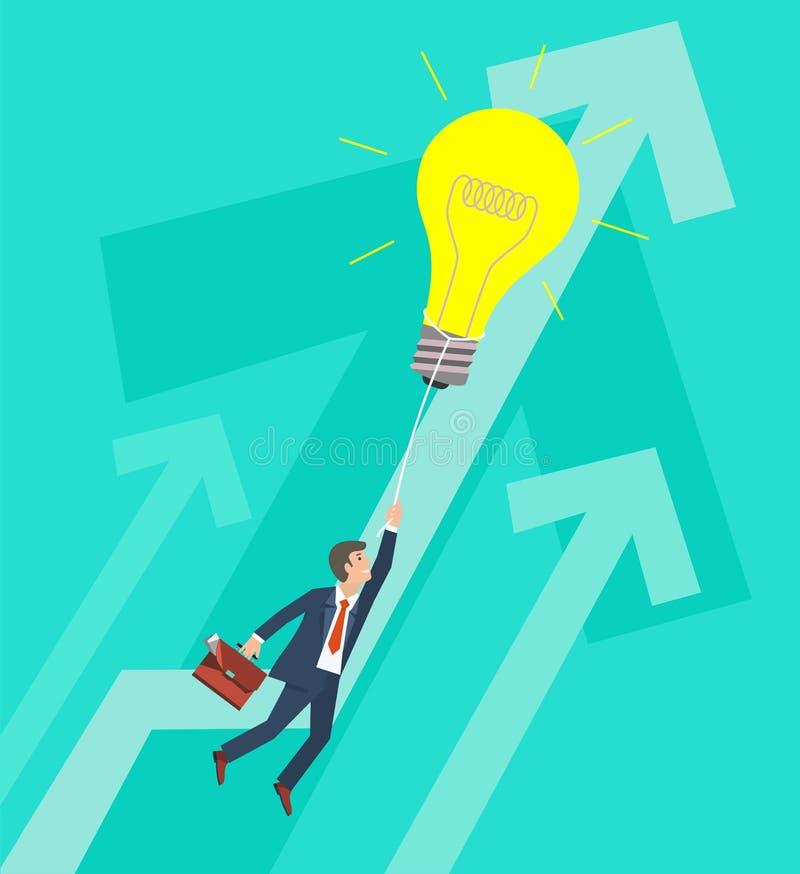 Επιχειρησιακή αύξηση και έννοια καινοτομίας Επιχειρηματίας που πετά στη μεγάλη λάμπα φωτός επίσης corel σύρετε το διάνυσμα απεικό απεικόνιση αποθεμάτων