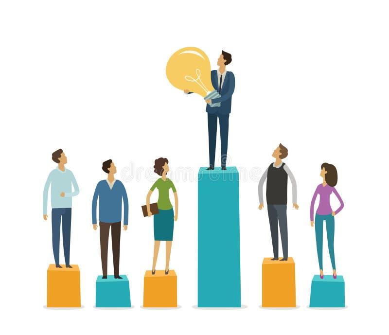 Επιχειρησιακή γραφική παράσταση, στάση επιχειρηματιών στις γραφικές παραστάσεις στηλών Ιδέα, κίνητρο, έννοια ανταγωνισμού επίσης  απεικόνιση αποθεμάτων