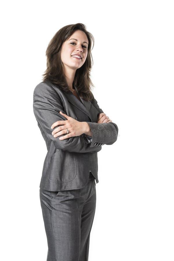 Επιχειρησιακή γυναίκα με τα διασχισμένα όπλα στοκ εικόνα