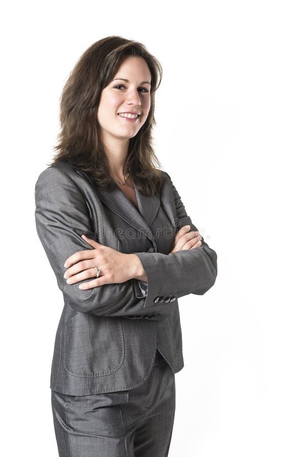 Επιχειρησιακή γυναίκα με τα διασχισμένα όπλα στοκ εικόνες