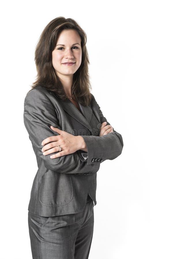 Επιχειρησιακή γυναίκα με τα διασχισμένα όπλα στοκ φωτογραφίες με δικαίωμα ελεύθερης χρήσης