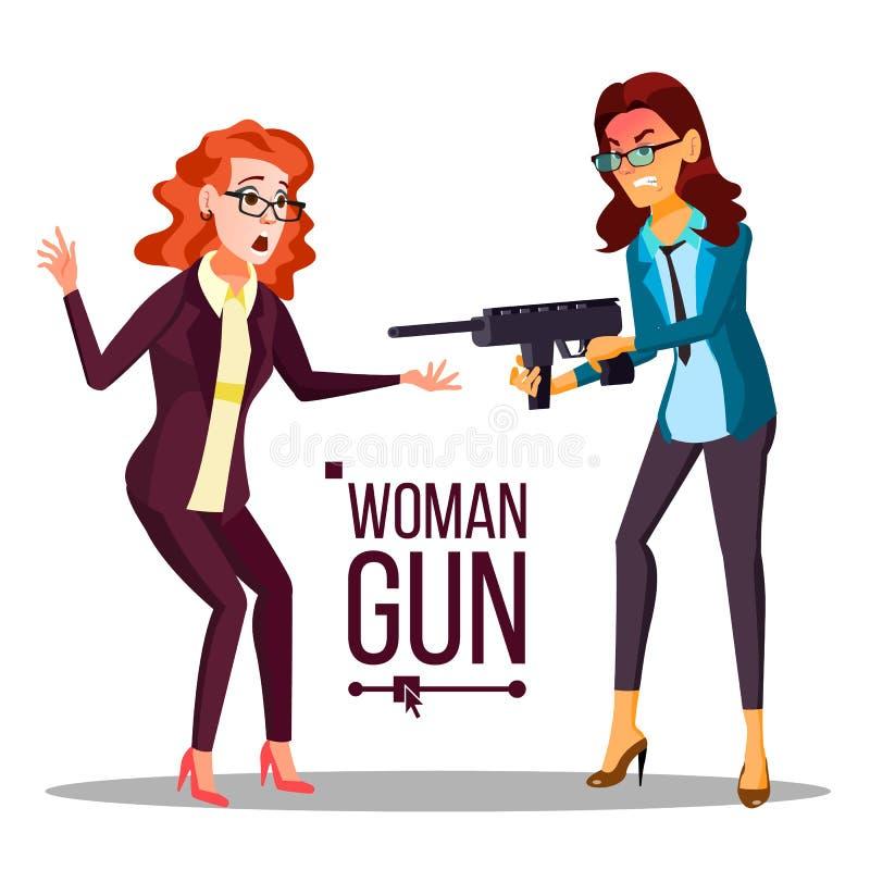 Επιχειρησιακή γυναίκα με το διάνυσμα πυροβόλων όπλων Κατάσκοπος, εγκληματικός ανεπιτυχής Απομονωμένη επίπεδη απεικόνιση ελεύθερη απεικόνιση δικαιώματος