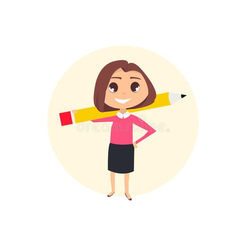 Επιχειρησιακή γυναίκα με το μολύβι ελεύθερη απεικόνιση δικαιώματος
