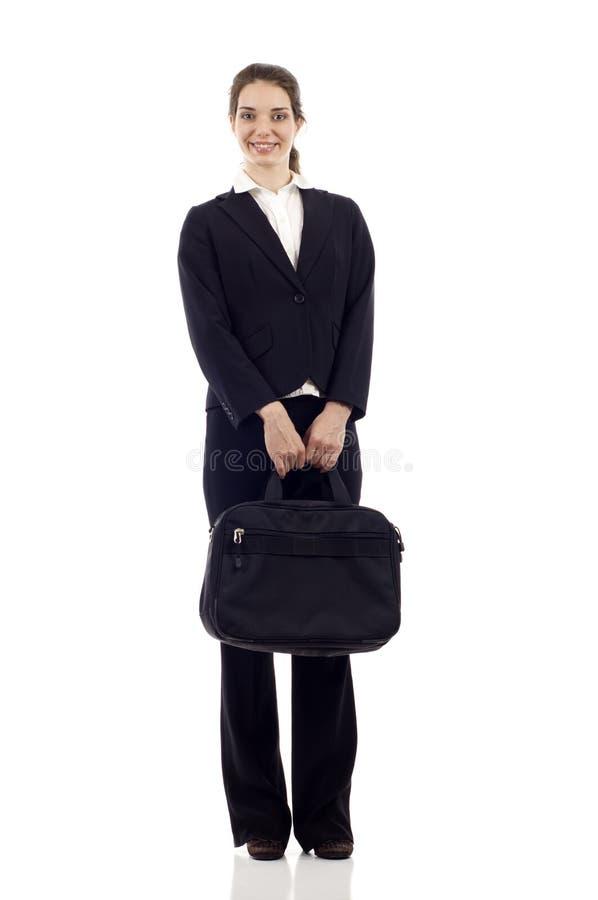 Επιχειρησιακή γυναίκα με το χαρτοφύλακα στοκ εικόνα