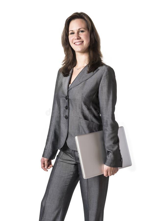 Επιχειρησιακή γυναίκα με το lap-top στοκ εικόνα με δικαίωμα ελεύθερης χρήσης