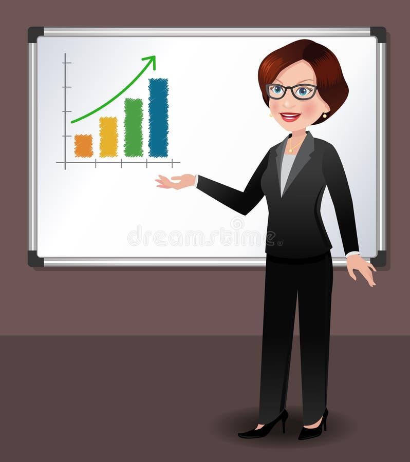 Επιχειρησιακή γυναίκα μπροστά από το whiteboard διανυσματική απεικόνιση