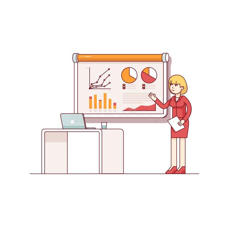 Επιχειρησιακή γυναίκα που δίνει μια ομιλία που παρουσιάζει πωλήσεις απεικόνιση αποθεμάτων