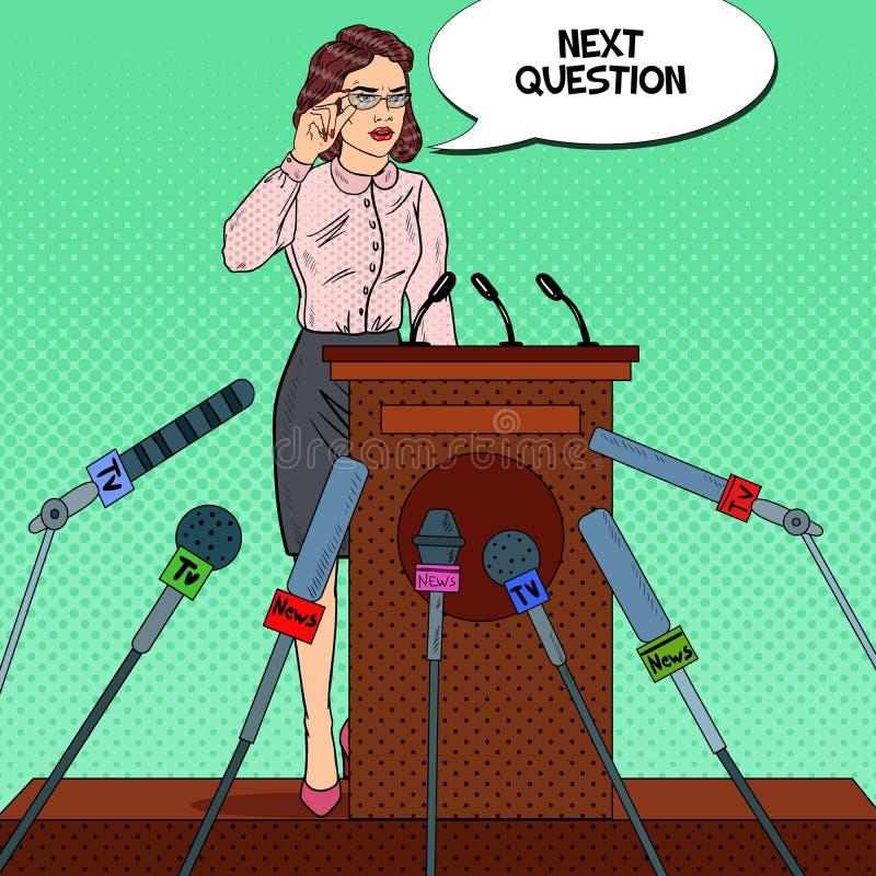 Επιχειρησιακή γυναίκα που δίνει τη συνέντευξη τύπου Συνέντευξη Μέσων Μαζικής Επικοινωνίας Λαϊκή απεικόνιση τέχνης διανυσματική απεικόνιση