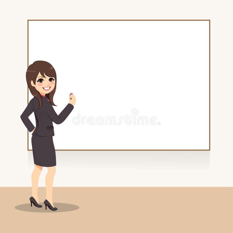 Επιχειρησιακή γυναίκα που γράφει σε Whiteboard απεικόνιση αποθεμάτων