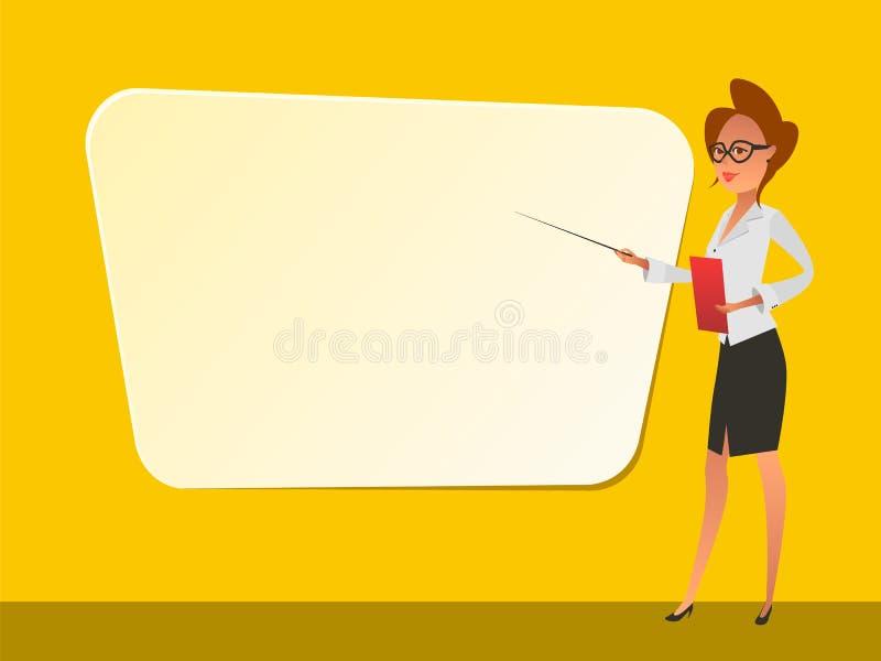 Επιχειρησιακή γυναίκα που δείχνει στο whiteboard ελεύθερη απεικόνιση δικαιώματος