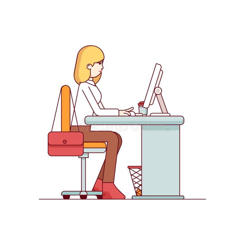 Επιχειρησιακή γυναίκα που εργάζεται σε έναν υπολογιστή γραφείου διανυσματική απεικόνιση