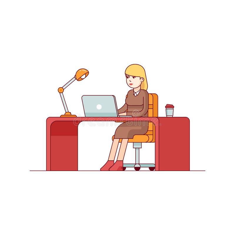 Επιχειρησιακή γυναίκα που εργάζεται σε έναν φορητό προσωπικό υπολογιστή διανυσματική απεικόνιση