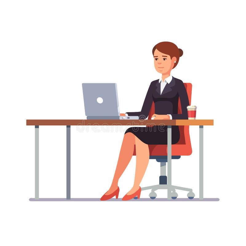 Επιχειρησιακή γυναίκα που εργάζεται στο καθαρό γραφείο γραφείων της διανυσματική απεικόνιση