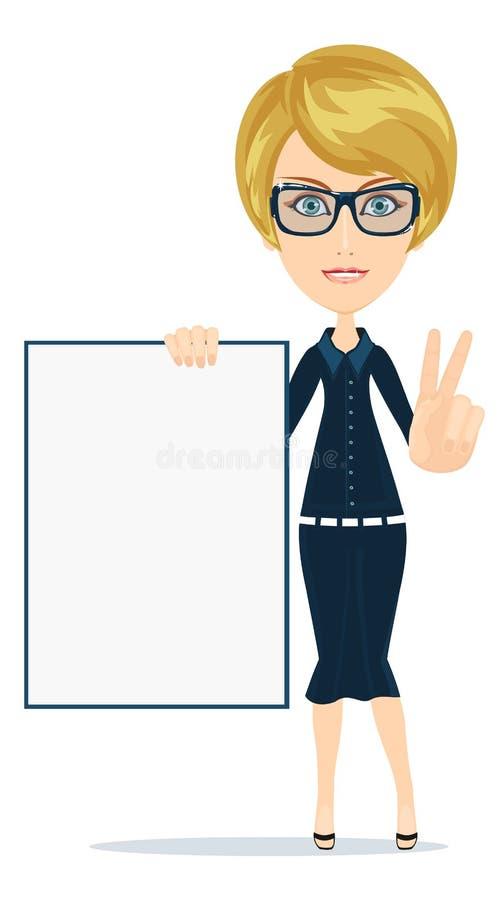 Επιχειρησιακή γυναίκα που κρατά μια αφίσα, διάνυσμα ελεύθερη απεικόνιση δικαιώματος